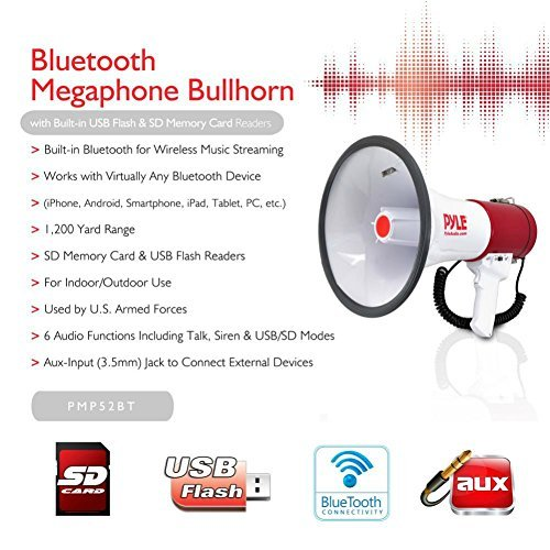 PYLE PMP52BT MEGAFONO PROFESSIONALE BIANCO E ROSSO DA 50 WATT MAX CON FUNZIONE DI SIRENA AMERICANA UDIBILE FINO A 1100 METRI CON INGRESSO USB SD CARD JACK 3,5 MM AUX BLUETOOTH INTEGRATO