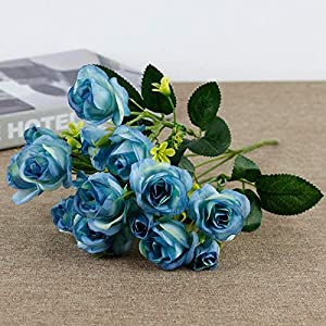 Artificial and Dried Flower 15 Heads Rose Artificial Flowers Bride Silk Small Head Fake Bouquet for Home Wedding Decoration Memorial Day Faux Flowers