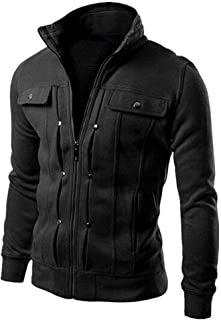HJHK Men's Jacket Long-Sleeve Winter Thick Stand-up Collar Coat Fleece Lined Military Cargo Outwear with Multi Pockets Zip...