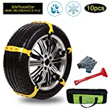 Tire Chains Anti Slip Tire Chains Snow Tire Chains Car Emergency Thickening Anti-Skid Chain Fit for Most Car/SUV/Vans/Truck, Set of 10 with Free Snow Shovel and Gloves (style1)