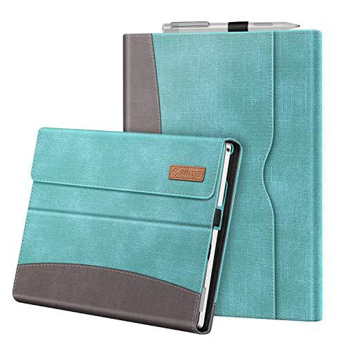 Fintie Hülle für Microsoft Surface Pro 7+ / Pro 7 / Pro 6 / Pro 5 / Pro 4 / Pro 3 - Multi-Sichtwinkel Kunstleder Tasche Schutzhülle mit Dokumentschlitze, Type Cover kompatibel, Jeansoptik Türkis