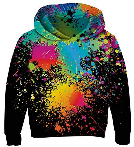 AIDEAONE Jungen Mädchen Hoodie Bunt 3D Pullover Hooded Sweatshirt Schwarz 5-6 Jahre