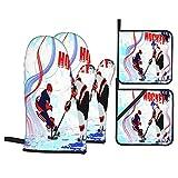 Guanti da forno e presine Set di 4,Due giocatori di hockey su ghiaccio in stile,guanti da barbecue in poliestere con fodera trapuntata cuscinetti caldi resistenti per in cucina Cottura alla griglia