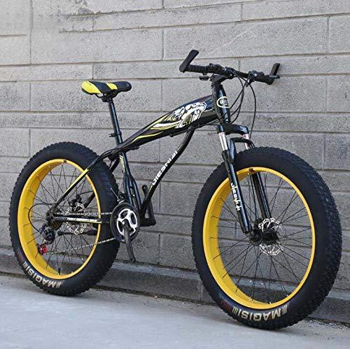GASLIKE Bicicleta de montaña para Adultos, Bicicleta MTB rígida Fat Tire, Horquilla Delantera amortiguadora y Cuadro de Acero de Alto Carbono, Freno de Disco Doble,B,24 Inch 21 Speed
