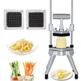 Commercial Vegetable Fruit Dicer with 1/4' 3/8″ Stainless Steel Blade Heavy Duty Professional Food Chopper French Fry Cutter For Onion for Tomato Peppers Potato Mushroom, Sliver