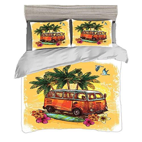 Juego de funda nórdica (220 x 240 cm) con 2 fundas de almohada Navegar Ropa de cama con impresión digital Hippie Clásico autobús antiguo con tabla de surf Freedom Holiday Exotic Life Sketchy Art, Yell