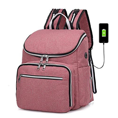 SAMJGF Leisure Backpack Female Bag USB Mummy Bag Shoulder Multi-Function Bottle Maternal and Child Package Diaper Stroller Backpack, Pink