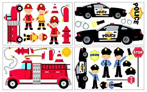 Samunshi® 34-teiliges Feuerwehr Polizei Wandtattoo Set Kinderzimmer Babyzimmer in 3 Größen (4x16x26cm Mehrfarbig)