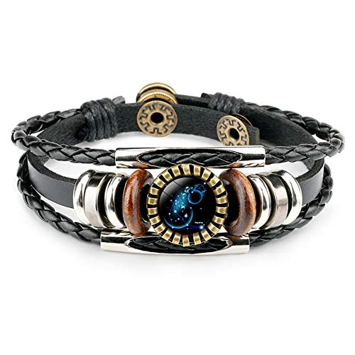 Dunbasi 12 Sternzeichen Armband Männer Sternbilder Lederarmband Herren,Glas Cabochon Punk Armreif Vintage Armbänder Armkette (Wassermann)