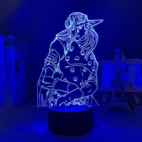 2021 New 3D Light Anime Jojo Bizarre Aventura Gyro Zeppeli para Dormitorio Decoración Luz de Regalo para él Jojo LED Lámpara Manga ZGLQ