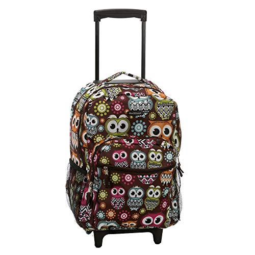 Rockland Double Handle Rolling Backpack, Owl, 17-Inch