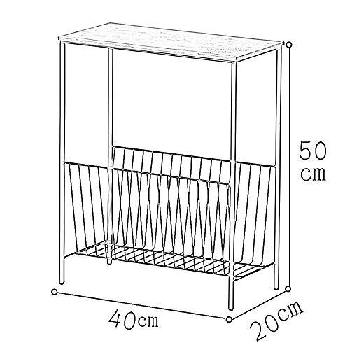 Mesa de roble con soporte para TV, mesa de café, mesa de centro y mesa de noche, mesa de centro pequeña, mesa esquinera, mesa de hierro de 40 x 20 x 50 cm, color blanco, MK