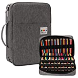 JAKAGO 304 Slots Pencil Case Large Capacity Gel Pen Case, Multi-Functional Organizer for Colored Pencils/Gel Pens/Markers/Makeup Brushes Stationery Pencil Pouch bag(Gray)