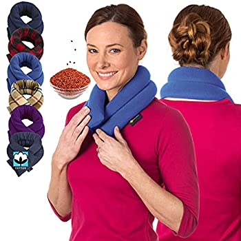 Microwave Heating Pad for Neck & Shoulders - Flax Seed Hot Packs for Pain - Bean Bag Heating Pad Microwavable - Hot Compresses for The Body - Heated Neck Wrap by Sunnybay  Sky Blue Extra Long