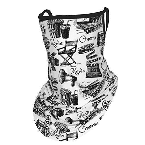 Movie Decor Vintage Artful Film Cinema Icons Motion Lighting Camera Action Record Graphic Black Whiteface Bandana Neck Gaiter with Ear Loops, UV Sun Protection Reusable Cloth Scarf Balaclava