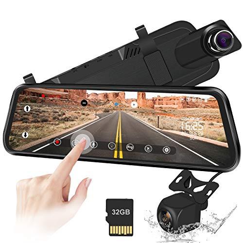 "10"" Mirror Dash Cam Backup Camera Full Touch Screen Video Streaming Mirror Camera 170° 1080P Front and 150° 1080P Rear View Camera Dual Lens with Night Vision & Parking Monitor (Free 32GB SD Card) backup camera car"