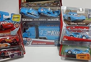 Pixar World Of Cars Diecast Bundle: Gray {King Hauler} The King, Mr & Mrs The King, Damaged King, Chase Rust-eze Lightning Mcqueen Including Dale Earnhardt Jr #8 1/55 Scale