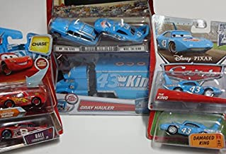 Pixar World Of Cars Diecast Bundle: Gray {King Hauler} The King, Mr & Mrs The King, Damaged King, Chase Rust-eze Lightning Mcqueen Including Dale Earnhardt Jr #8 1/55 Scale