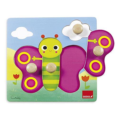 Goula- Puzzle mariposa de madera, 22 x 22 cm (53051) , color/modelo surtido