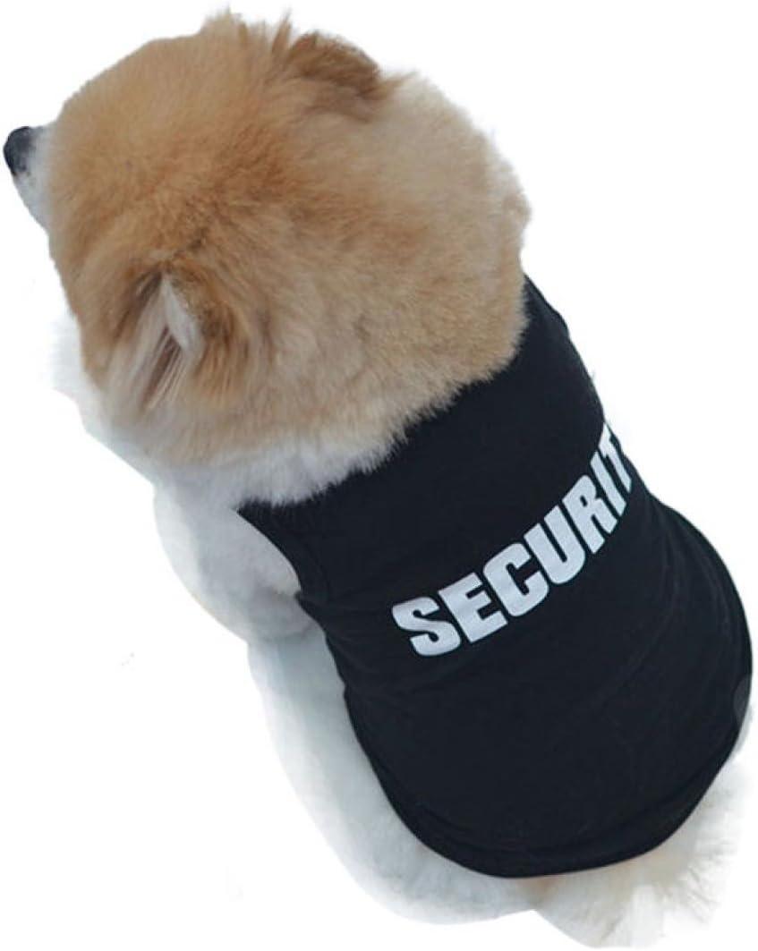 Fossen Pequeño Perro Ropa Verano Camiseta de Algodón para Pequeño Chihuahua Yorkshire Mascota Cachorros (S, Negro)