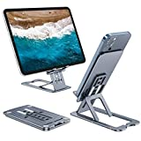 LeeVee Adjustable Cell Phone Stand Foldable Portable Holder Upgraded Durable Aluminum Desktop Tablet Stand Smartphone Desk Cradle Dock with Protective Pads for All Phones, Tablets (4-12')