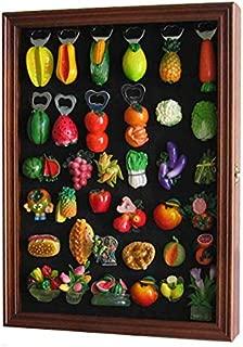 Refrigerator/Souvenir/Sports Magnets Display Case Wall Shadow Box Cabinet (Walnut Finish)
