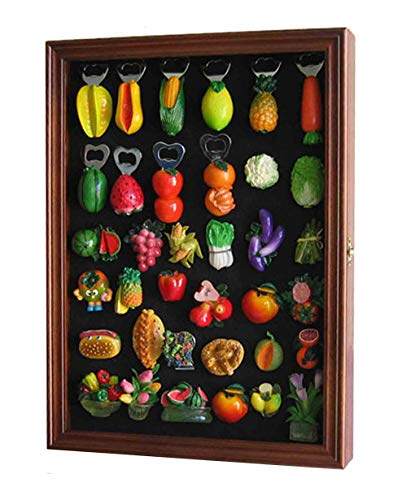 Refrigerator/Souvenir/Sports Magnets Display Case Wall Shadow Box Cabinet (Walnut Finish)