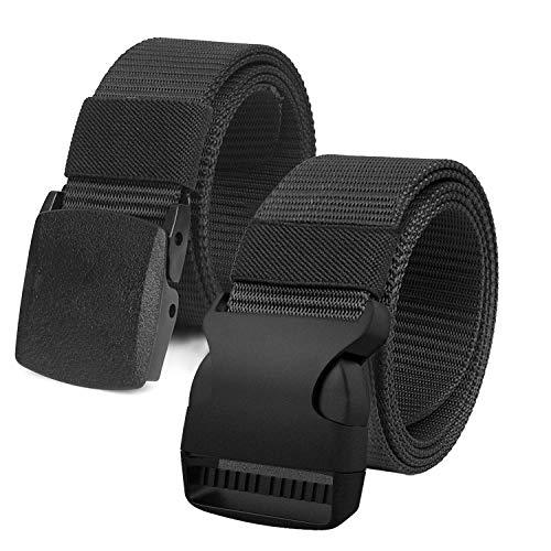 """Justay 2 pack Cinture Uomo in Tela in Stile Militare, 1.5"""" Tessuto in Nylon Cintura Uomo con Fibbia"""