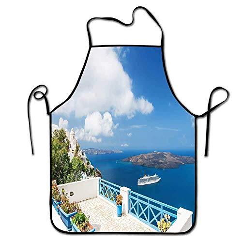 Not Applicable Landschaftsschürze für Kinder Schöne Terrasse mit Meerblick Weiße Architektur auf Santorini Island Griechenland Schürze Sexy Blau Weiß