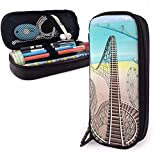 Student Stationery Pouch Bag Fashion PU Leather Pencil Pouch Stylish Roller Coaster Desk Organizer Bag for Pens, Pencils, Highlighters
