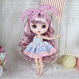 HYZM Blythe Doll 1/6, 19 Joints Blythe Muñeca + Maquillaje Cara + Ropa + Ojos de 4 Colores + 9 Pares de Manos, Cabello Rizado Azul Rosado