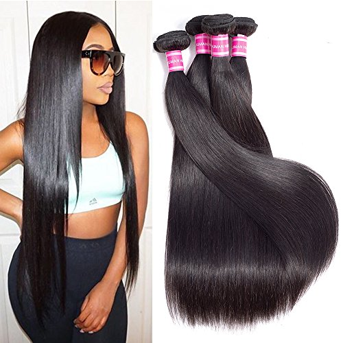 "Gabrielle Weave Hair (18"" 20"" 22"" 24"")Brazilian Virgin Remy Straight Hair 4 Bundles 100% Unprocessed Virgin Brazilian Human Hair Bundles Extension Natural Color Hair Brazilian Weave"