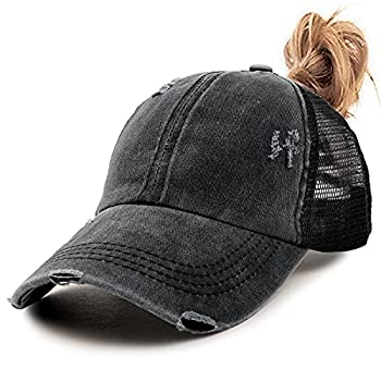 Womens Criss Cross Ponycap Distressed Messy High Bun Ponytail Baseball Cap Vintage Unconstructed Dad Hat Black