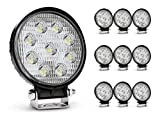 Nilight - 4350385646 Led Light Bar 10 Pack 4.5inch 27w 3000LM Round Flood Light Pod Off Road Fog Driving Roof Bar Bumper for Jeep SUV Truck Hunters