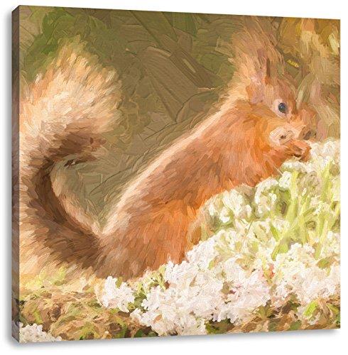 Pixxprint Nagendes Eichhörnchen im Moos als Leinwandbild   Größe: 60x60 cm   Wandbild   Kunstdruck   fertig bespannt