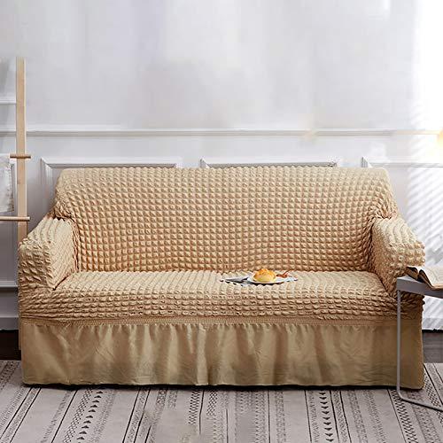 Funda para sofá de color rojo, 1 pieza, fácil de instalar, universal, alta elasticidad, duradera, protector de muebles con falda, estilo rural (3 plazas) B, 4 plazas