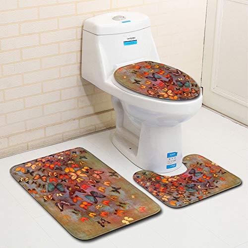 MANNUOSI Nouveau Tapis de Bain antiderapantm,Tapis Salle Bain 3 pièces Ensemble de Tapis de Salle de Bain Contour Tapis Toilette WC(Papillon)