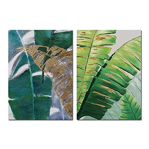MENGX Impresión de Lienzo de Planta, póster de Hoja de plátano Verde Dorado de Acuarela e Impresiones, imágenes artísticas de Pared, Sala de Estar, decoración del hogar, sin Marco