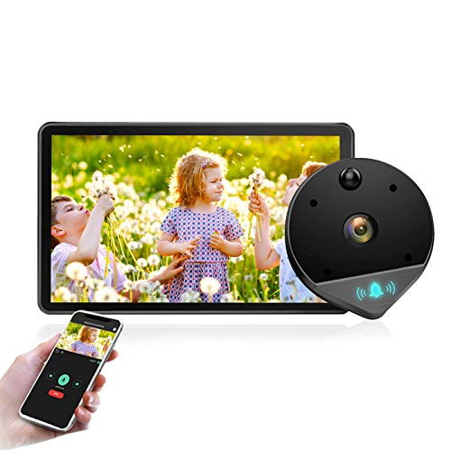 WiFi Video Doorbell Viewer 1080P Door Peephole Camera Viewer 170° Night Vision with 4.3 Inch LCD Screen Monitor APP Smart Home for Apartment Home Security (Peephole-Gray)