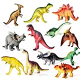 AILIHEN Dinosaurs Toys Includes Kids 12-Pack of Realistic Plastic Figures, 5-8' Dinosaur Play Set with Educational Book for Boys/ Girls / Toddlers ( 3 Years Old & Up ), Dinosaur Party Supplies