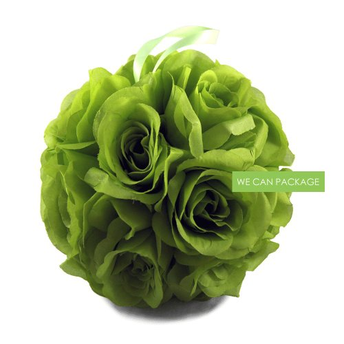 We Can Package 7 Inch Silk Rose Pomander Kissing Balls for Wedding Decorations, Party Event, Floral Arrangements Home (Lime Green)
