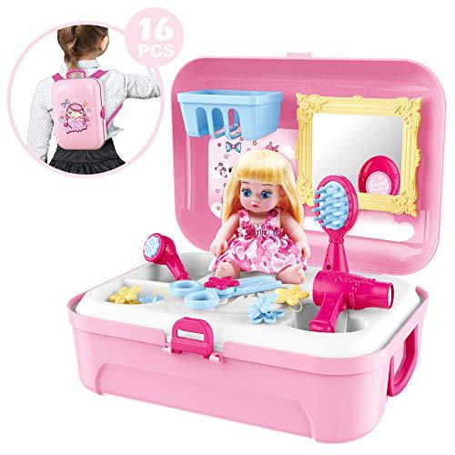 Mädchen Rollenspiel Set Baby Puppe Schönheit Spielzeug Rucksack Koffer für Kinder Alter 2 3 4 5 6 Jahre alt - Rosa