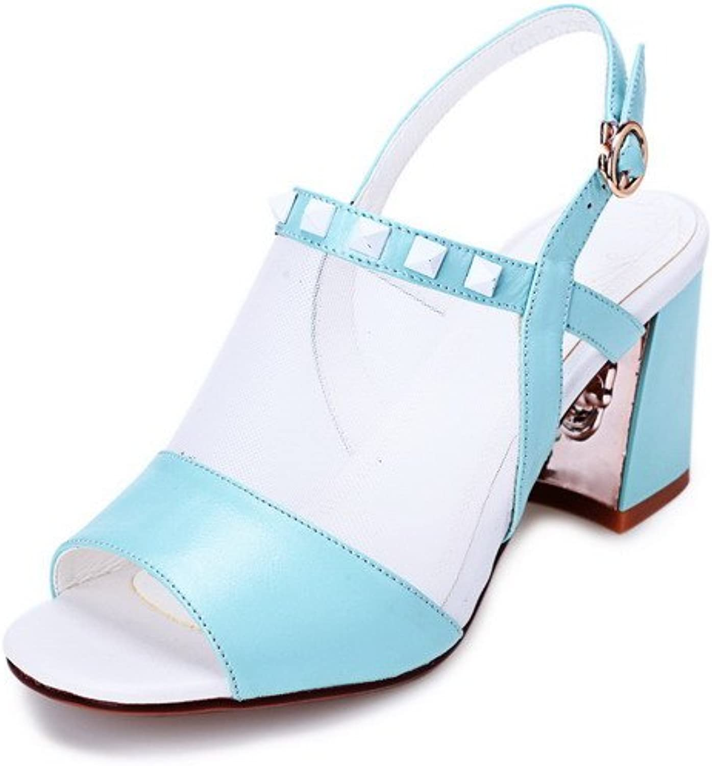 WeenFashion Women's Buckle Cow Leather Open Toe High Heels with Rivet Solid Sandals