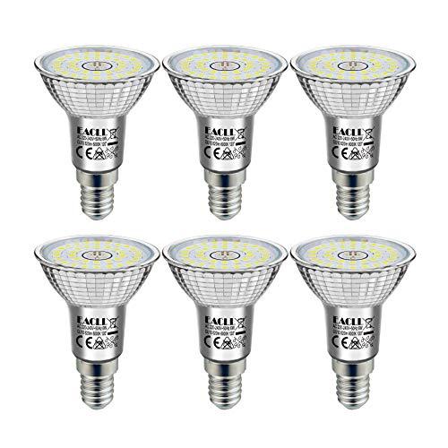 EACLL Lampadine LED E14 6000K Bianco Freddo 6W 820 Lumen Equivalenti a 65W Lampada Alogeno. Nessuna Strobo, 120 ° Faretto Luce Diurna Bianca Fredda Riflettore R50 Spotlight, 6 Pack