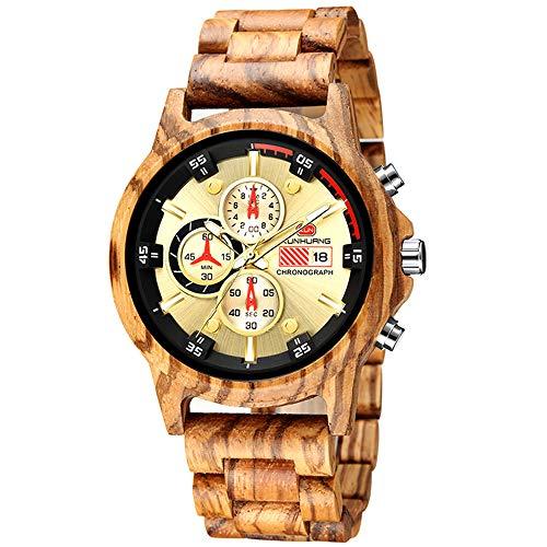 HUA-Watch Reloj De Cuarzo Deportivo Multifunción, Reloj De Madera para Hombres, Regalos Madera Zebra