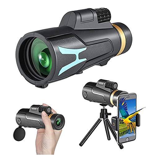 MWKL Telescopio monocular – 12x50 HD Alta definición FMC BAK4 Impermeables, con Soporte para Smartphone y trípode para Camping