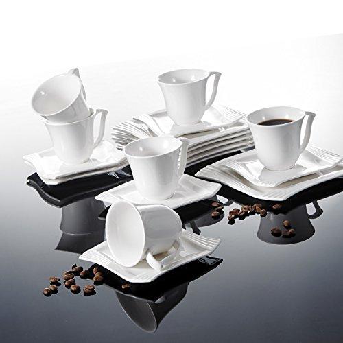 Malacasa, Serie Amparo, 18 tlg. Set Cremeweiß Porzellan Kaffeeservice Geschirrset Tafelservice Kuchenteller Tasse mit Untertasse Geschirr für 6 Personen