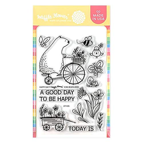 Waffle Flower Happy Day Stamp Set - A Good Day to be Happy! Illustrated by Big Bear and Bird.