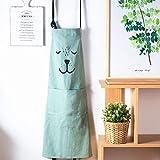 Lindong Süß Kartoon Schürze mit Tasche für Frauen Kinder Wasserdicht Baumwolle Leinen Küchenschürze Latzschürze Kochschürze Kinder Grün - 4