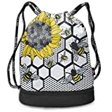 Sacs de Sport, Sacs à Dos, Men & Women Premium Polyester Drawstring Sack Sunflower Bee Beehive Rucksack Theft Proof Lightweight for Traveling Soccer Baseball Bag Large for Camping, Yoga Runner